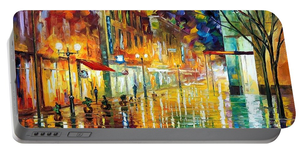 Afremov Portable Battery Charger featuring the painting Scent Of Rain by Leonid Afremov