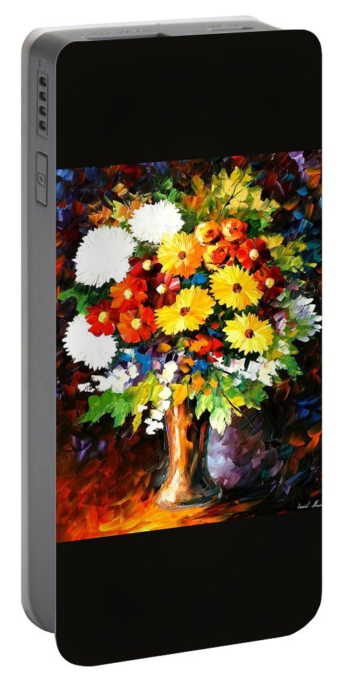 Afremov Portable Battery Charger featuring the painting Scent Of The Night by Leonid Afremov