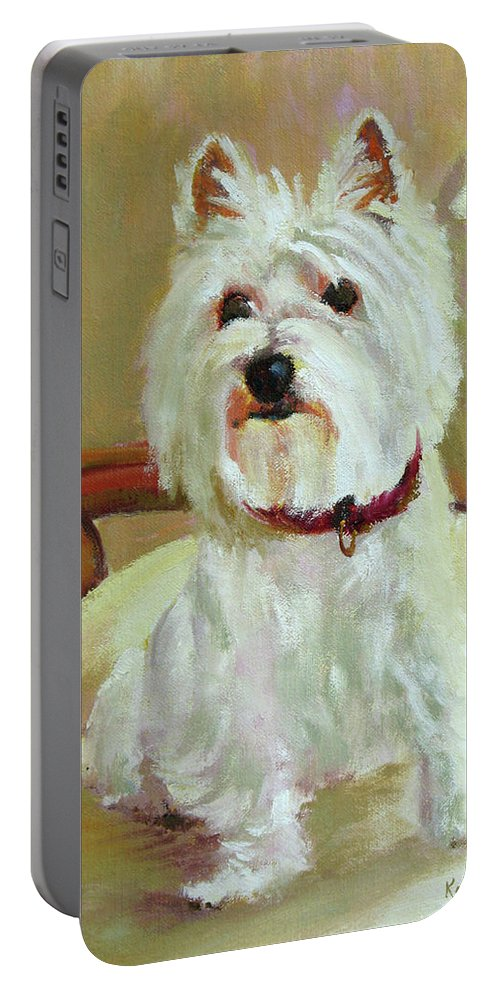 Pet Portable Battery Charger featuring the painting Schatzie by Keith Burgess