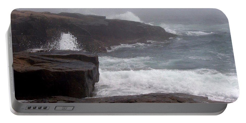Waves Portable Battery Charger featuring the photograph Schoodic Point by Lisa Kane