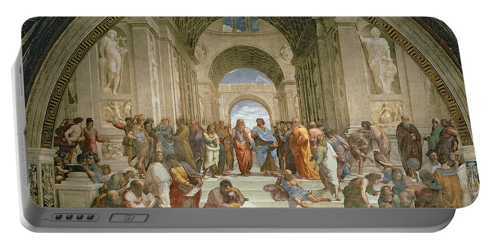 School Portable Battery Charger featuring the painting School Of Athens From The Stanza Della Segnatura by Raphael