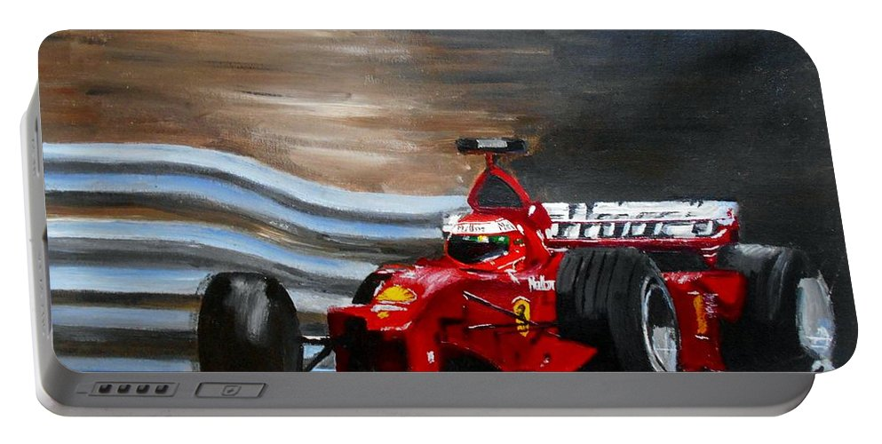 Art Portable Battery Charger featuring the painting Schumacher Monaco by Angie Wright