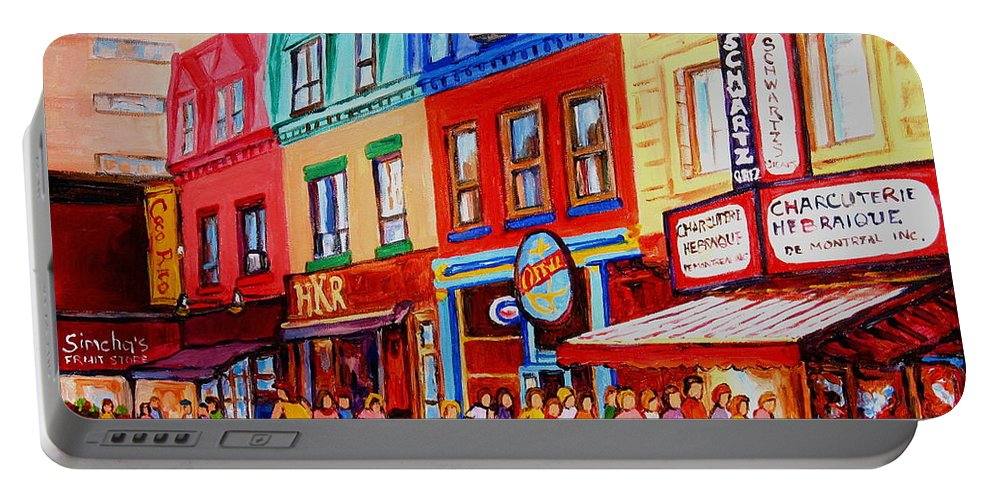 Cityscape Portable Battery Charger featuring the painting Schwartz Lineup With Simcha by Carole Spandau