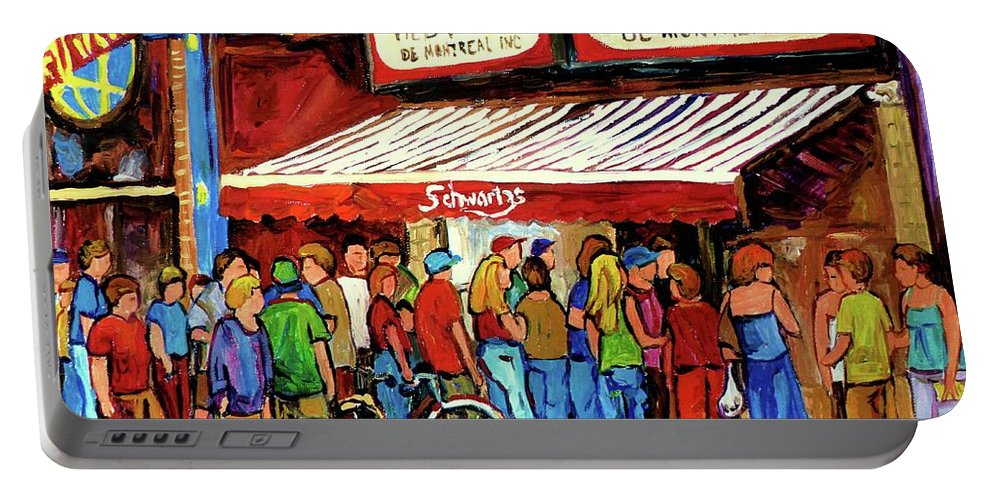 Schwartz Deli Portable Battery Charger featuring the painting Schwartzs Deli Lineup by Carole Spandau
