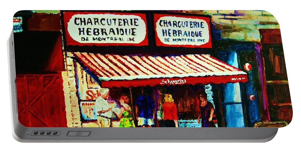 Schwartz Deli Portable Battery Charger featuring the painting Schwartzs Famous Smoked Meat by Carole Spandau