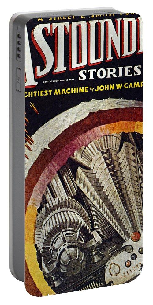 1934 Portable Battery Charger featuring the photograph Science Fiction Cover, 1934 by Granger