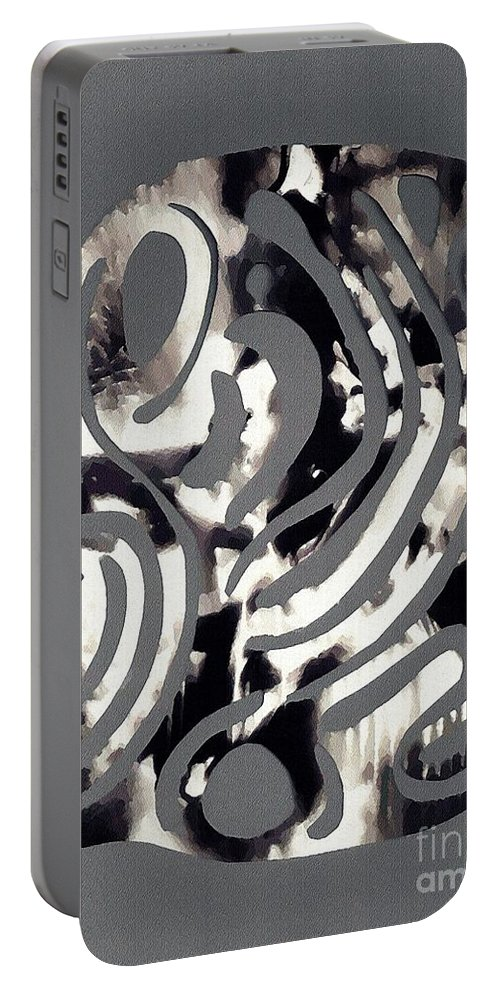 Curve Portable Battery Charger featuring the mixed media Scissor-cut Abstraction by Sarah Loft