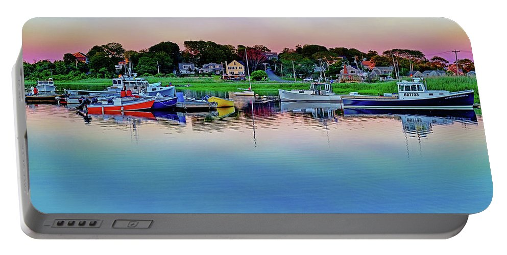 Scituate Portable Battery Charger featuring the photograph Scituate Harbor At Sunset by Jeremie Doucette