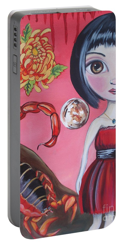 Scorpion Portable Battery Charger featuring the painting Scorpio by Jaz Higgins