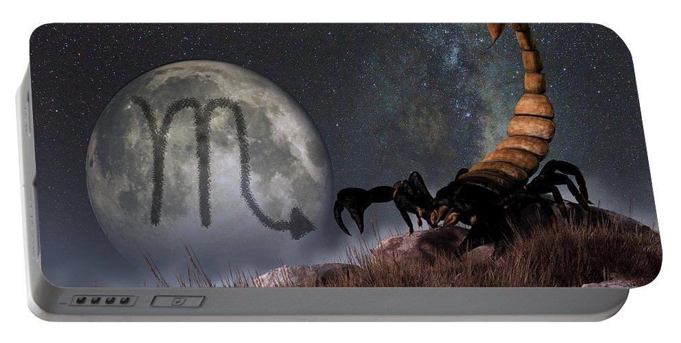 Scorpio Portable Battery Charger featuring the digital art Scorpio Zodiac Symbol by Daniel Eskridge