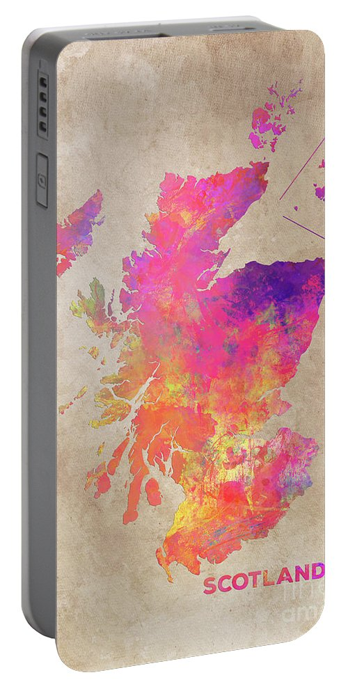 Scotland Portable Battery Charger featuring the digital art Scotland Map by Justyna JBJart