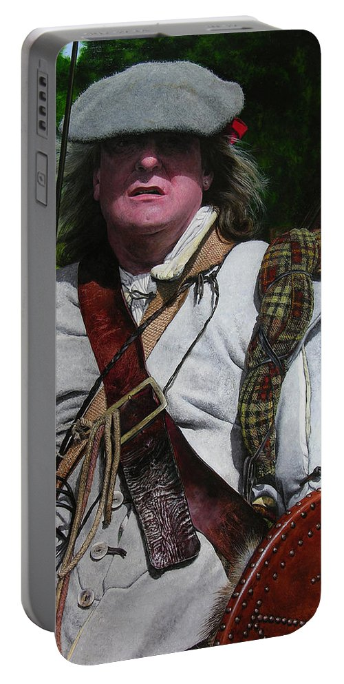 Scotland Portable Battery Charger featuring the painting Scottish Soldier Of The Sealed Knot At The Ruthin Seige Re-enactment by Harry Robertson