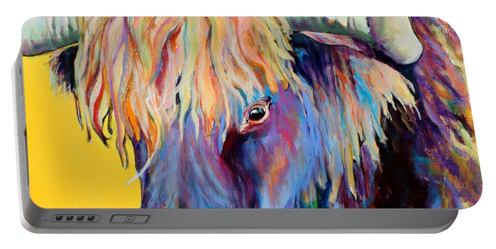 Farm Animal Portable Battery Charger featuring the painting Scotty by Pat Saunders-White