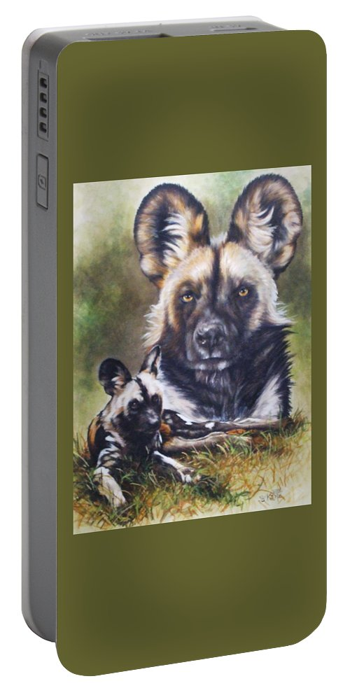 Wild Dogs Portable Battery Charger featuring the mixed media Scoundrel by Barbara Keith
