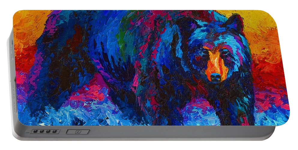 Western Portable Battery Charger featuring the painting Scouting For Fish - Black Bear by Marion Rose
