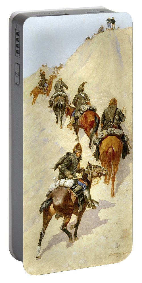Cavalry Portable Battery Charger featuring the painting Scouts Climbing A Mountain by Frederic Sackrider Remington