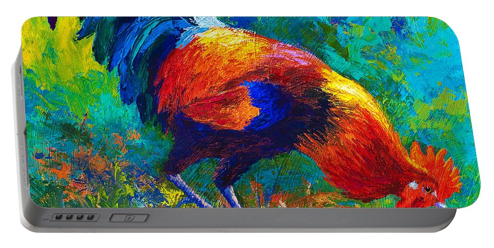 Rooster Portable Battery Charger featuring the painting Scratchin' Rooster by Marion Rose