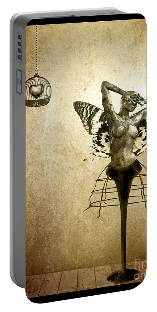 Digital Portable Battery Charger featuring the painting Scream Of A Butterfly by Jacky Gerritsen