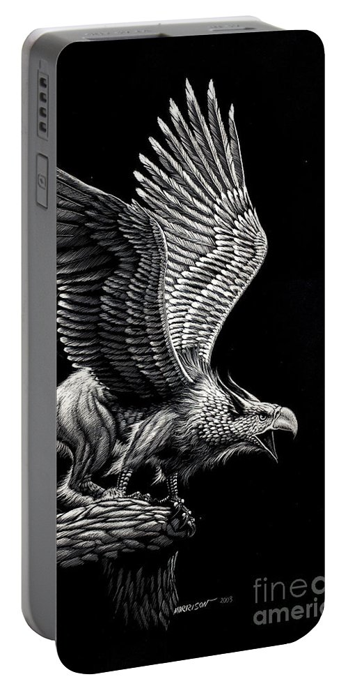 Griffon Portable Battery Charger featuring the drawing Screaming Griffon by Stanley Morrison