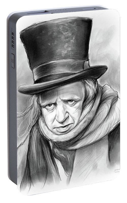 Alistair Sim Portable Battery Charger featuring the drawing Scrooge by Greg Joens