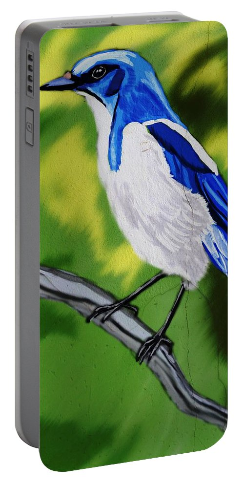 Birds Portable Battery Charger featuring the digital art Scrub Jay by Michael Kallstrom
