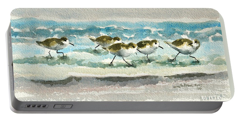 Sandpipers Portable Battery Charger featuring the painting Scurrying Along The Shoreline 2 1-6-16 by Julianne Felton