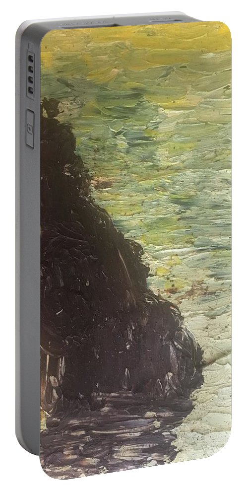 Ocean Portable Battery Charger featuring the painting Sea Arch by Wendy Minkler