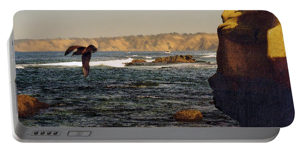 Ocean Portable Battery Charger featuring the digital art Sea Cliff by Steve Karol