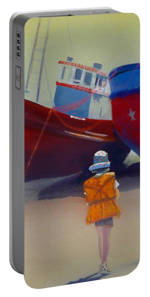 Dreamscape Portable Battery Charger featuring the painting Sea Dreamer by Charles Stuart