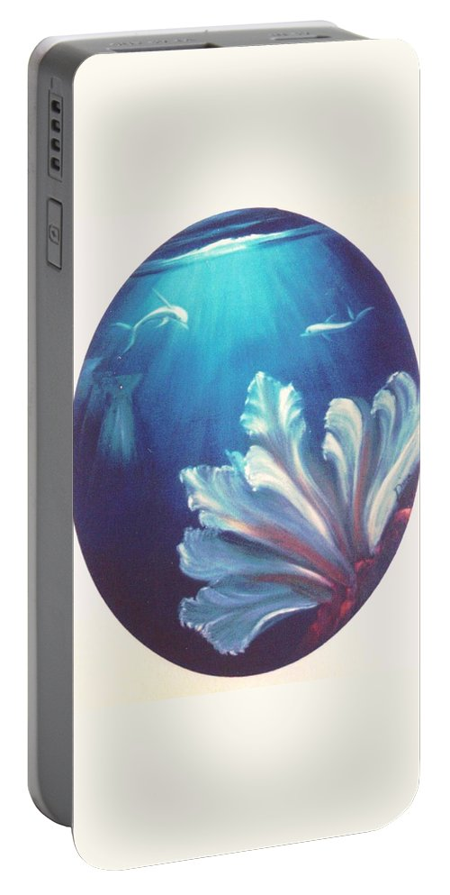 Underwater Portable Battery Charger featuring the painting Sea Fan by Dina Holland