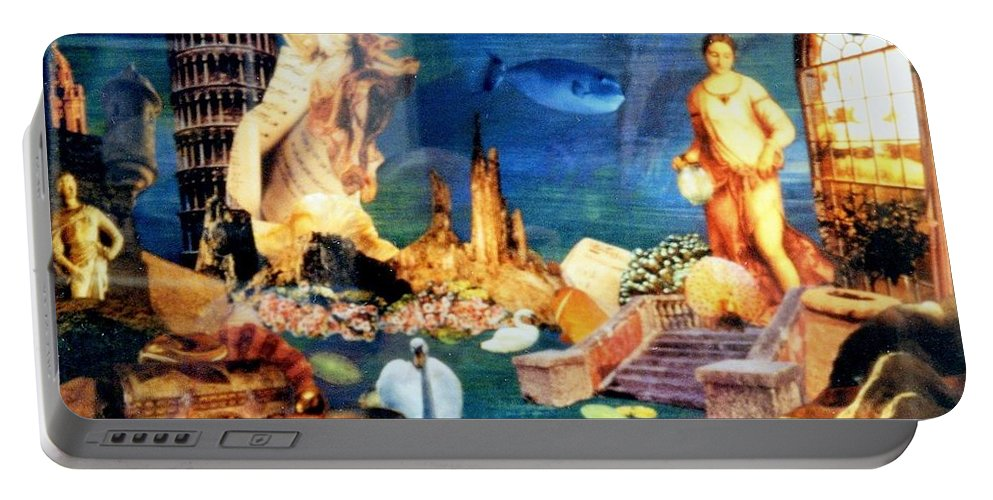 Fantasy Portable Battery Charger featuring the painting Sea Garden by Gail Kirtz
