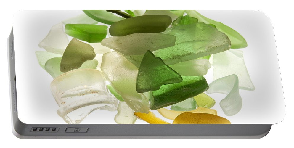 White Background Portable Battery Charger featuring the photograph Sea Glass by Fabrizio Troiani