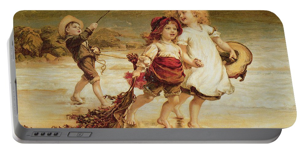 Sea Portable Battery Charger featuring the painting Sea Horses by Frederick Morgan