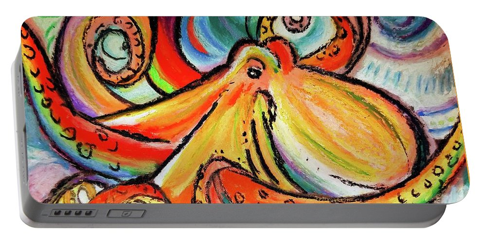 Octopus Portable Battery Charger featuring the pastel Sea Me Swirl by Bonny Puckett