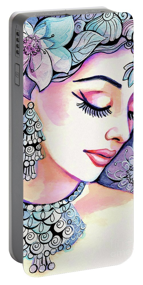 Indian Woman Portable Battery Charger featuring the painting Sea Mist by Eva Campbell