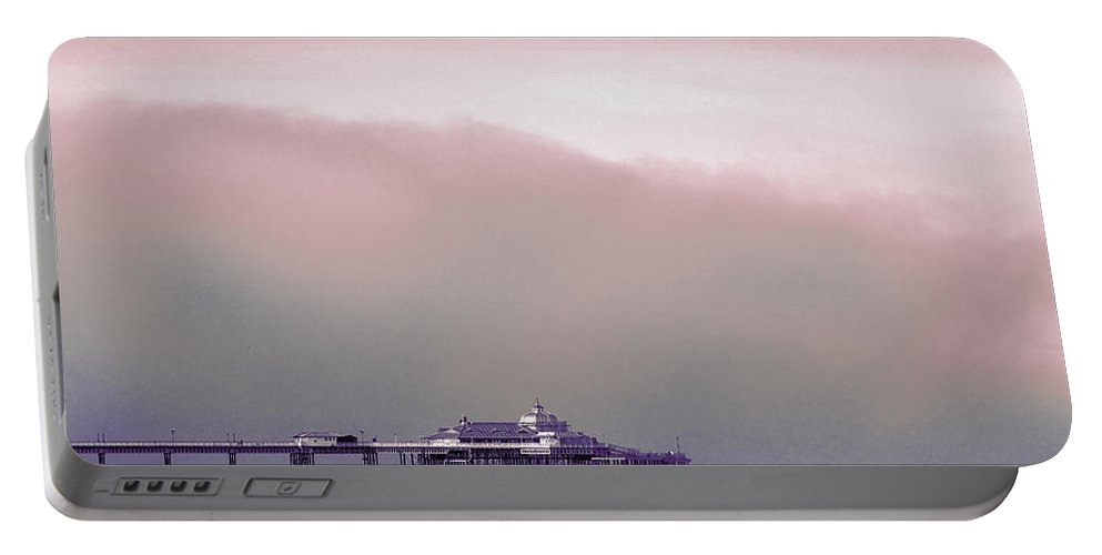 Pier Portable Battery Charger featuring the photograph Sea Mist Replaces The Great Orme As The Backdrop To Llandudno Pier by Mal Bray