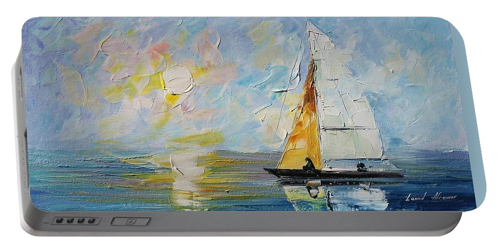 Afremov Portable Battery Charger featuring the painting Sea Morning New Original by Leonid Afremov