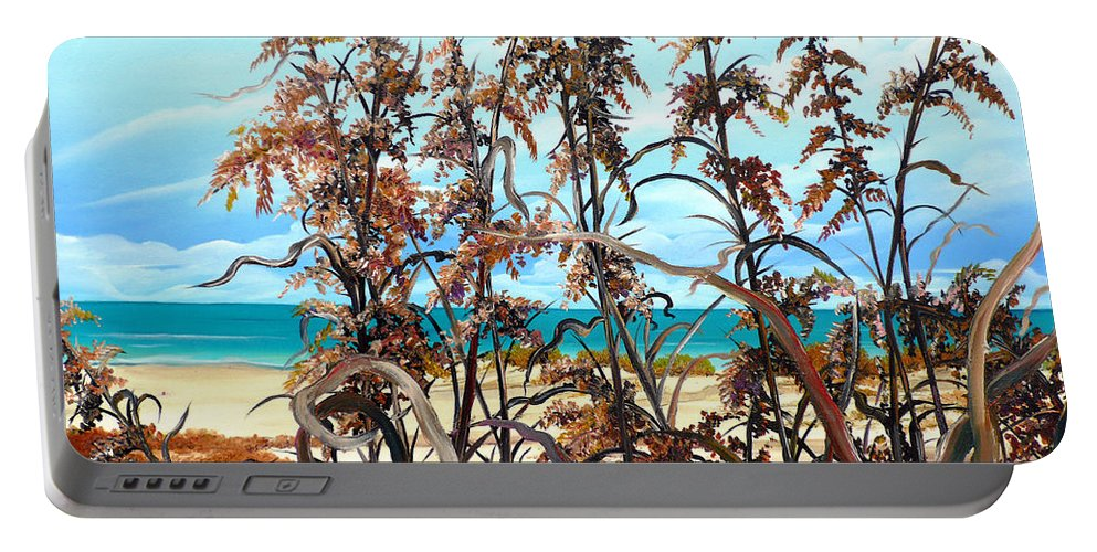 Ocean Painting Sea Oats Painting Beach Painting Seascape Painting Beach Painting Florida Painting Greeting Card Painting Portable Battery Charger featuring the painting Sea Oats by Karin Dawn Kelshall- Best