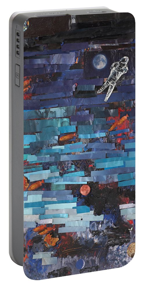 Astronaut Portable Battery Charger featuring the mixed media Sea Space by Jaime Becker