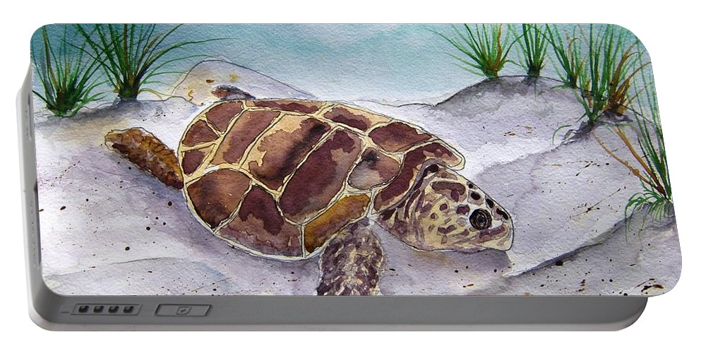 Sea Turtle Portable Battery Charger featuring the painting Sea Turtle 2 by Derek Mccrea
