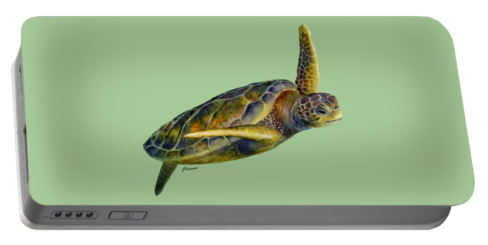 Underwater Portable Battery Charger featuring the painting Sea Turtle 2 by Hailey E Herrera