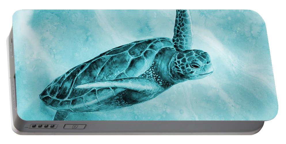 Mono Portable Battery Charger featuring the painting Sea Turtle 2 in Blue by Hailey E Herrera