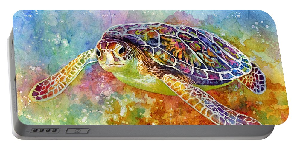 Turtle Portable Battery Charger featuring the painting Sea Turtle 3 by Hailey E Herrera