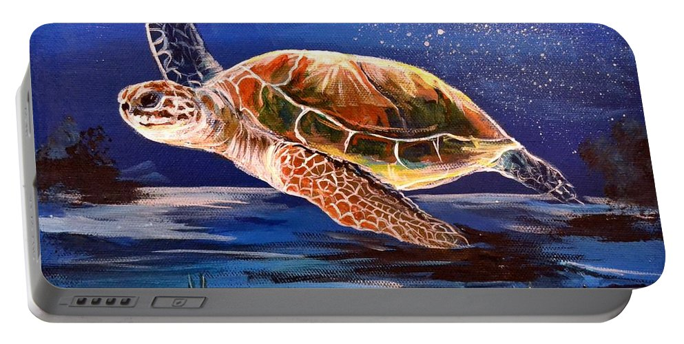 Sea Portable Battery Charger featuring the painting Sea Turtle by Stephen Broussard