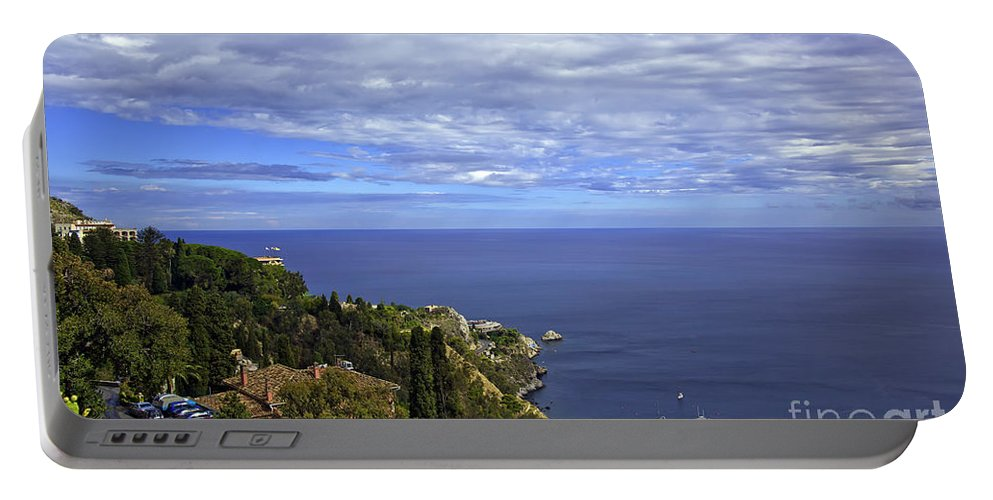 Landscape Portable Battery Charger featuring the photograph Sea View From Taormina by Madeline Ellis