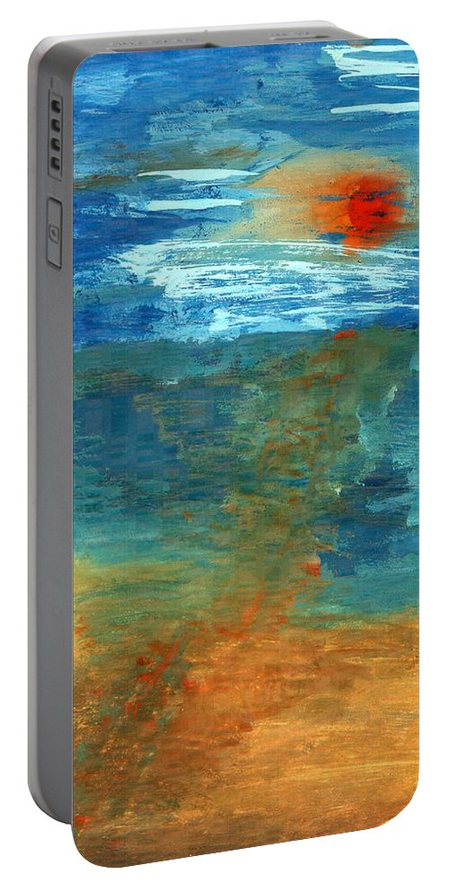 Colour Portable Battery Charger featuring the painting Sea Was by Wojtek Kowalski