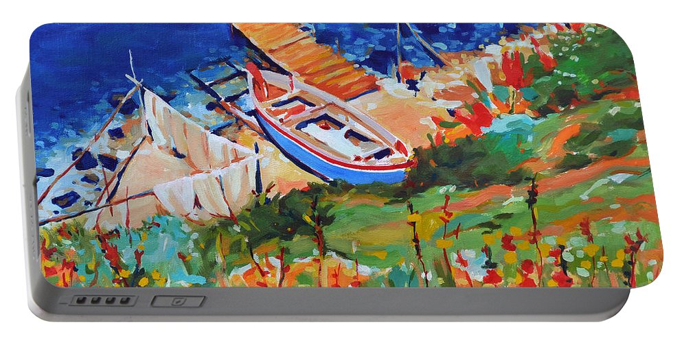 Seascape Portable Battery Charger featuring the painting Seacoast by Iliyan Bozhanov
