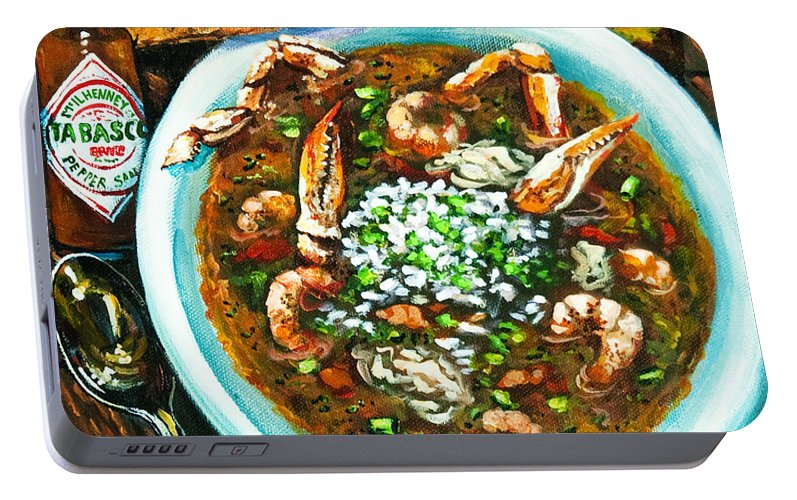 New Orleans Seafood Portable Battery Charger featuring the painting Seafood Gumbo by Dianne Parks