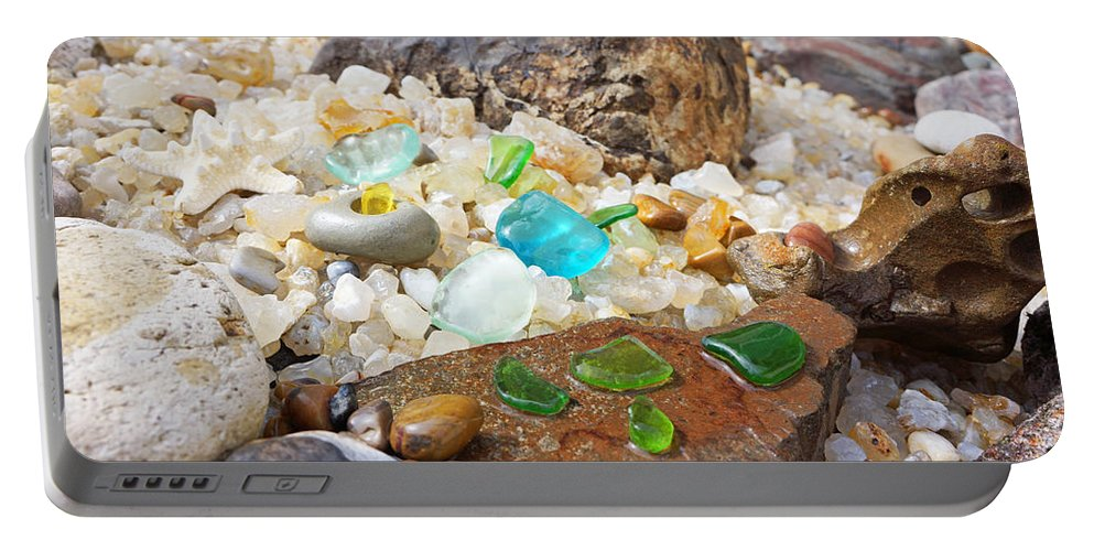 Decorative Portable Battery Charger featuring the photograph Seaglass Fossil Rocks Coastal Art by Patti Baslee