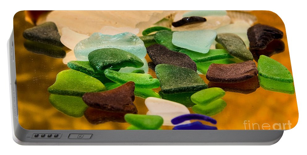 Glass Portable Battery Charger featuring the photograph Seaglass Reflections by Mary Koenig Godfrey